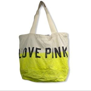 """PINK   Large """"Love Pink"""" canvas Tote Bag"""